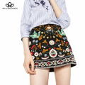 2016 autumn new women's bohemian style A-line ethnic embroidery skirt black