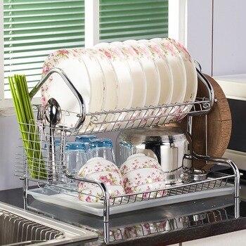 منزل على شكل 3 الطبقة طبق رفوف أصحاب الفولاذ المقاوم للصدأ تجفيف تجفيف للأطباق منظم مطبخ حامل للأطباق