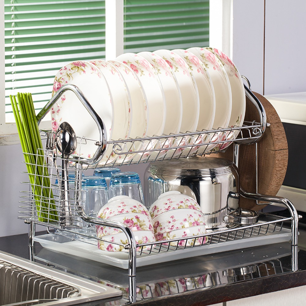Amazing Us 34 96 House Shaped 3 Tier Dish Racks Holders Stainless Steel Drainer Drying For Dishes Kitchen Organizer Stand For Dishes In Racks Holders From Interior Design Ideas Clesiryabchikinfo