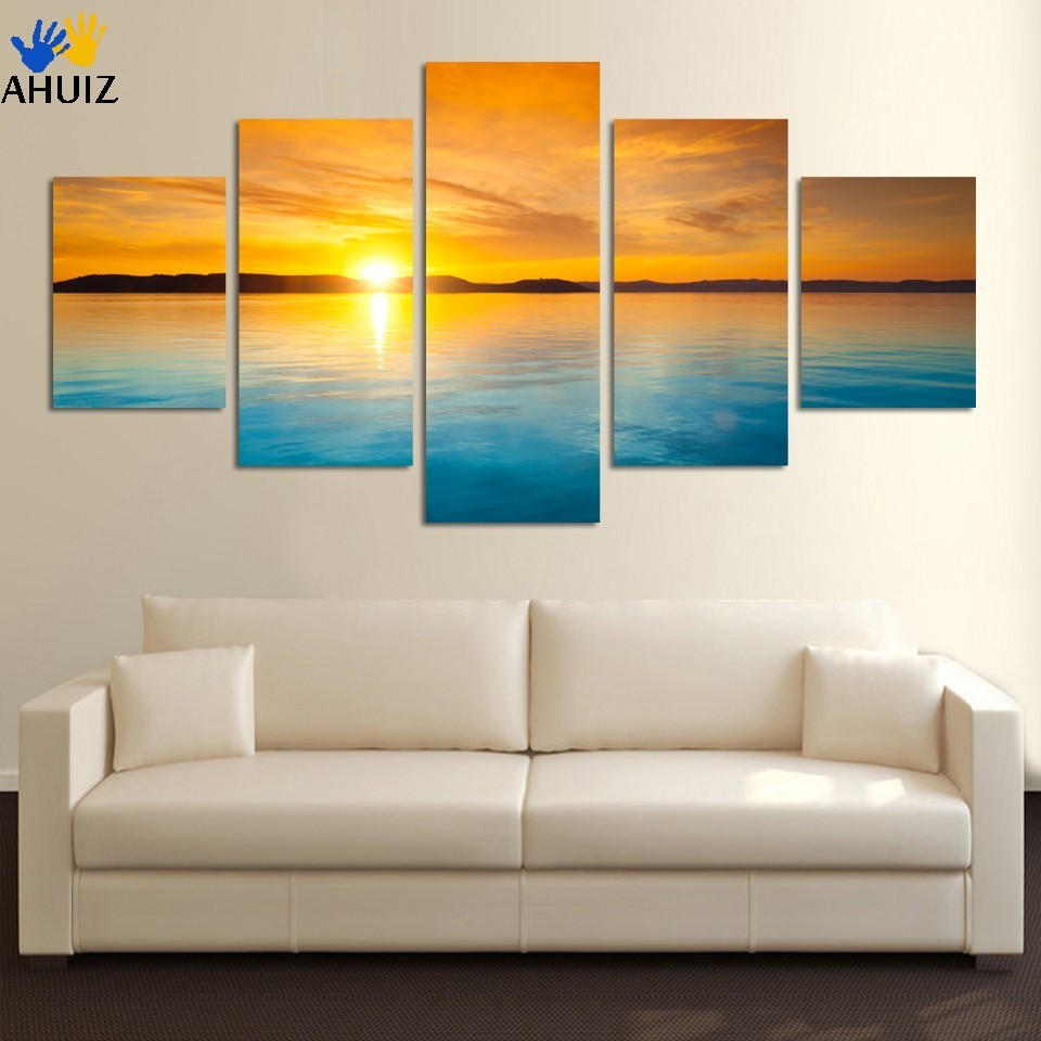 Framed Ready To Hang or with frame Fashion 5 Pieces Landscape Canvas Painting Blue Sea and sunset HD large wall paintings F243