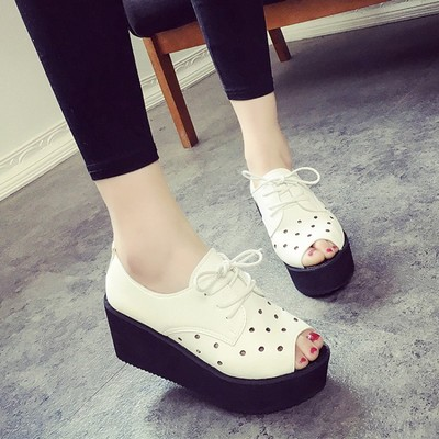 ФОТО Free shipping Xia Jisong cake breathable hole shoes to help low Casual Department octopus mouth shoes fashion sandals women