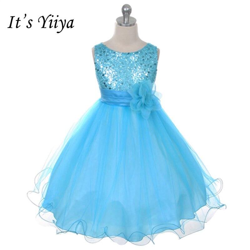 It's YiiYa   Flower     Girl     Dresses   11 Colors Sleeveless O-Neck Floor Length   Girls   Pageant   Dresses   Vestidos De Noches Para Ninas 067