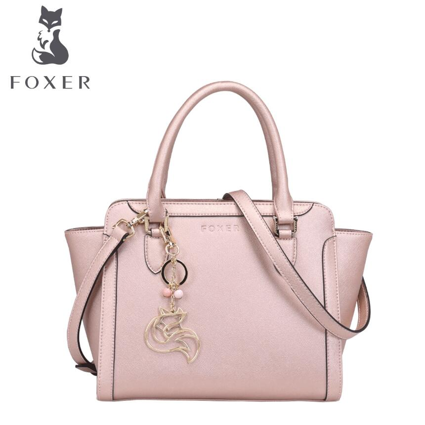 купить FOXER 2017 new quality women genuine leather bag famous brands leather women bag fashion wings bag women handbags shoulder bag по цене 4706.11 рублей