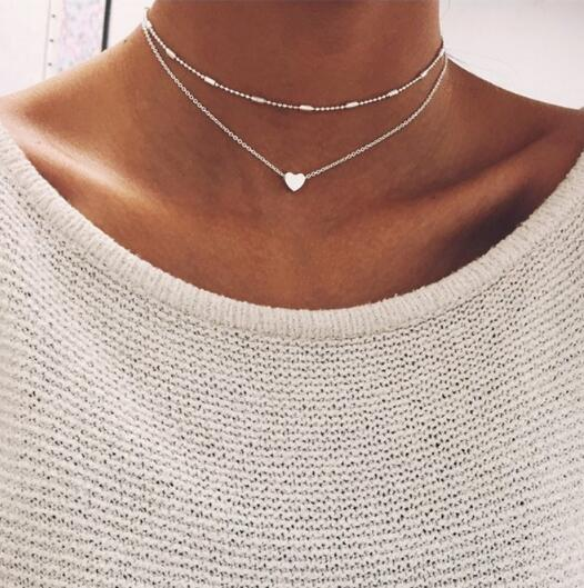 Крошечное ожерелье сердца для женщин короткая цепочка в форме сердца кулон ожерелье подарок этническое богемское Колье чокер Прямая поставка x51 - Окраска металла: x253yinse