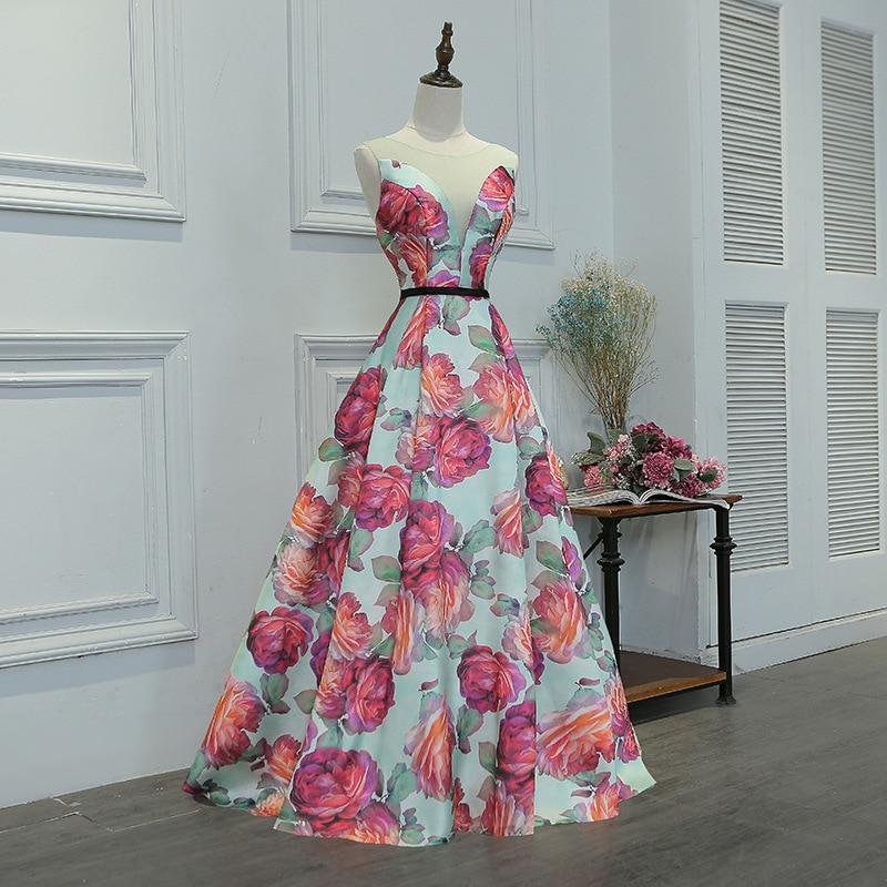 Floral Print Full Length Satin Bridesmaid Dress
