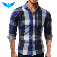 QINGYU Brand 2017 Fashion Male Shirt Long Sleeves Tops Casual Plaid Slim Mens Dress Shirts Slim