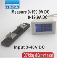 Pantalla LCD Dual DC de Tensión y medidor de corriente del amperímetro del voltímetro gama DC 0-199.9 V 0-20A retroiluminación Azul DC 3 ~ 40 de Entrada Con derivación