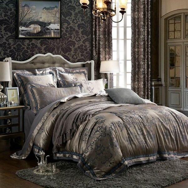 6 조각 유럽 패션 자카드 실크 코튼 레이스 럭셔리 침구 세트 킹 사이즈 퀸 침대 세트 이불 커버 침대 시트 베개 가짜