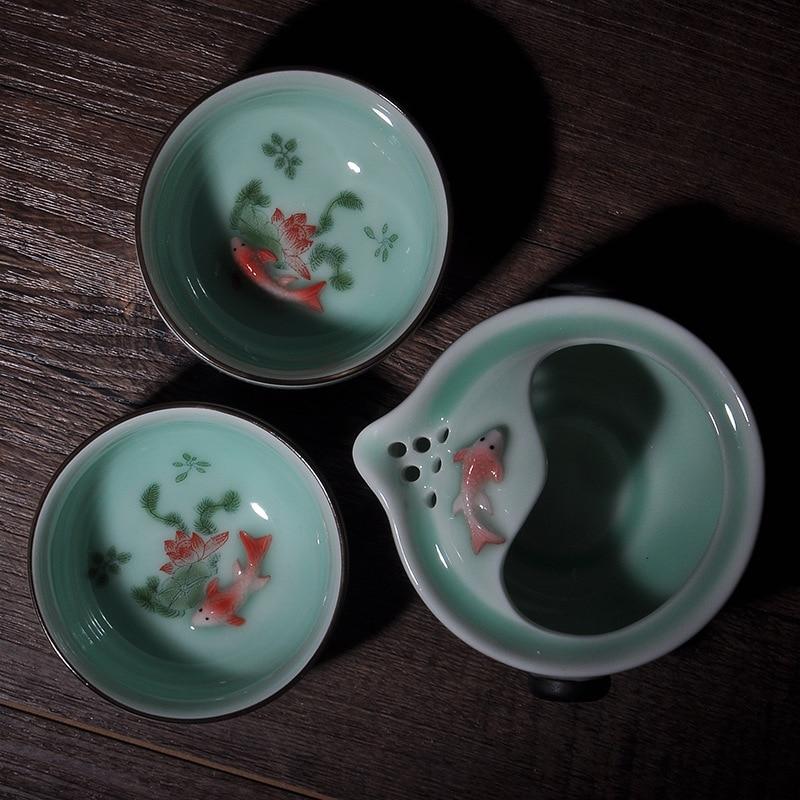 Emboss goldfish Exquesite Decal Longquan Celadon Teacup porcelain portable Tea Sets Travel Tea Set Ceramic  Teapot Quik cup