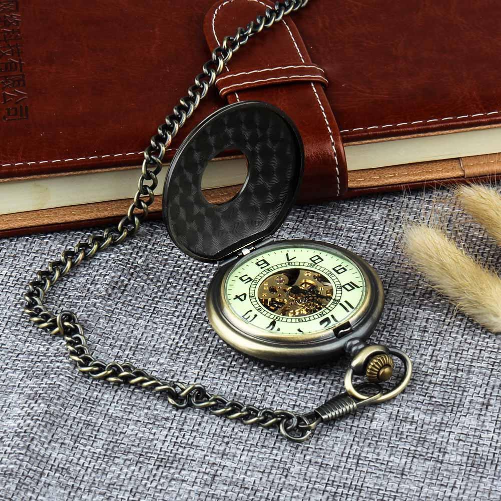 Retro Pocket Watch for Unisex Men Women Bronze Elegant Engraved Case Steampunk Skeleton Mechanical Movement With Chain Gift Box 1