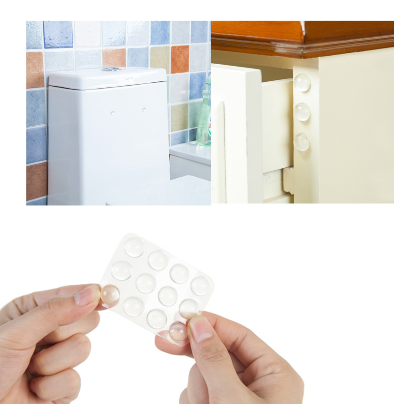 Self Adhesive 24 Pcs Silicone Shock Absorber Transparent Multifunction Anti Collision Sticker Cabinet Door Anti Slip transparent anti slip silicone shock absorber soft cushion for closestool