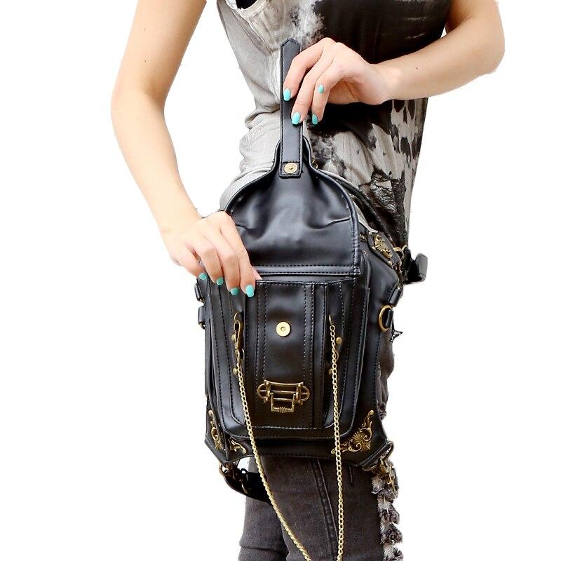 Gothic Stoom Punk Tas Schedel Retro Rock Tas Vrouwen Taille Been Tassen Gothic Black Leather Messenger Tassen 2019 Nieuwe Mode-in Heuptasjes van Bagage & Tassen op  Groep 3