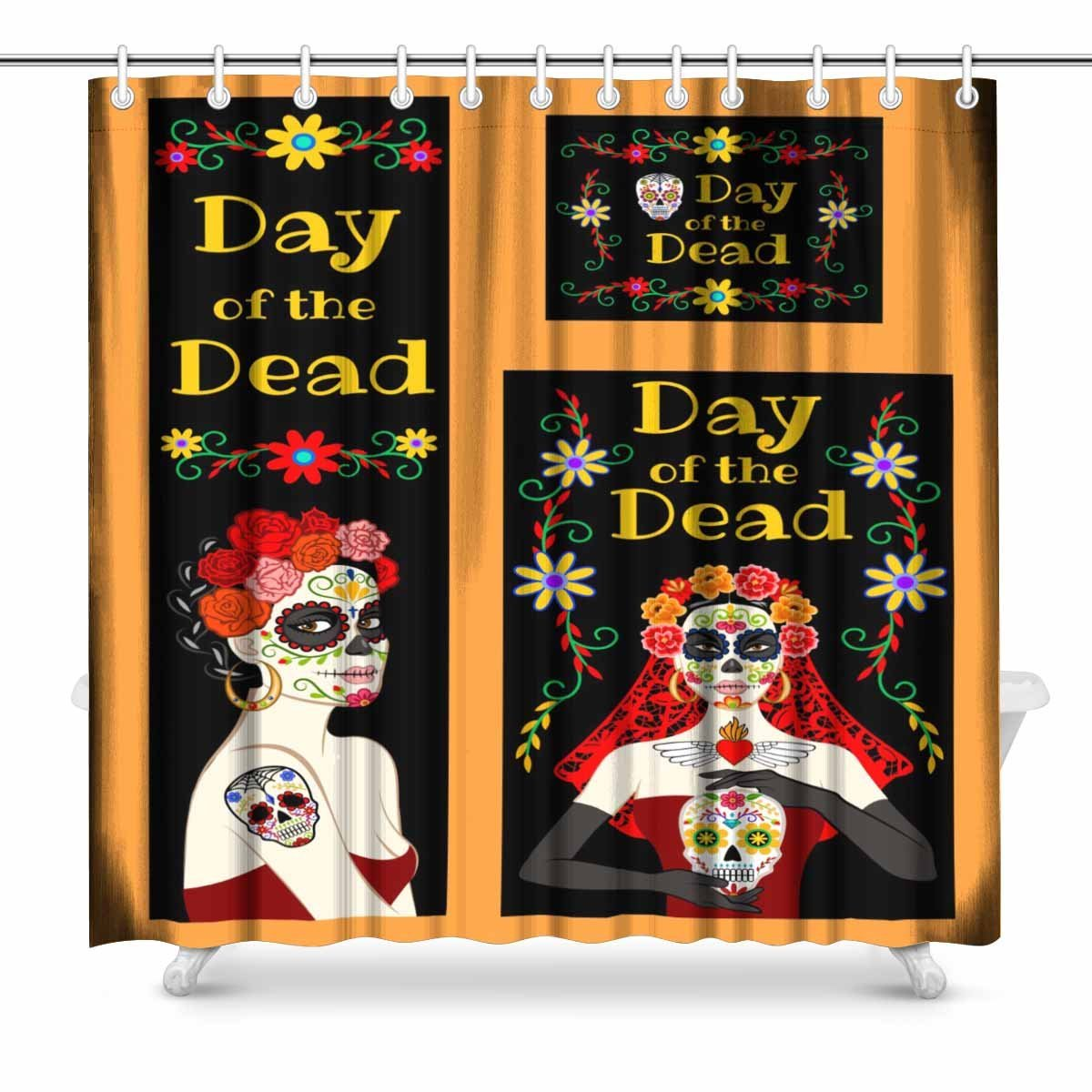 Day Of The Dead Bathroom Set: Aplysia Mexican Day Of The Dead Fabric Bathroom Shower