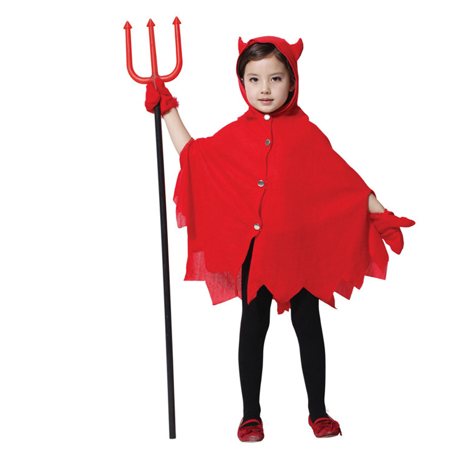 high quanlity halloween costume for kids girls little red devil costumes sets girls cosplay batwing sleeve - Kids Cheap Halloween Costumes