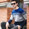 2016 весенняя мода свитер мужчин свитер пуловер Марка Повседневная Жаккард с длинным рукавом V-образным Вырезом тонкий вязание тянуть homme топы M-XXXL
