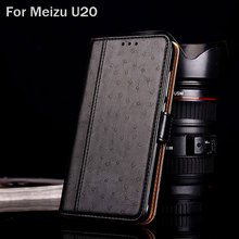 for meizu U20 case Luxury Ostrich Leather with Stand fashion hit color Wallet phone Cases for meizu u20 funda Flip cover coque