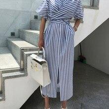63f8267606f Корейский для женщин летние хлопковые синие полосатая повязка разделение  длинное платье женские длинные облегающий