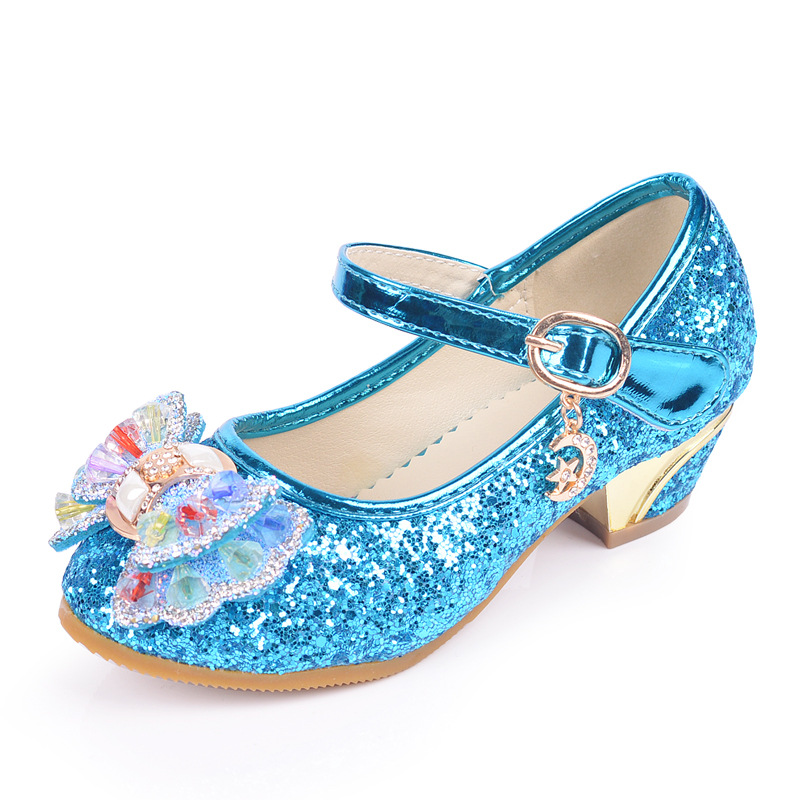 qloblo 2018 new spring Girls dance Leather shoes students fashion sequins childrens high heels princess single shoes