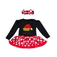 2 PCs por Conjunto Preto Chapéu Bebê Recém-nascido Meninas Tutu Vestido Meu Primeiro Natal Sock Impressão Árvore Padrão Outfit Headband 0-24Motnths