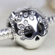 7d37a84c7 New 925 Sterling Silver Bead Charm Sparkling Skull With Butterfly & Beaded  & Heart Beads Fit Pandora Bracelet Bangle Diy Jewelry