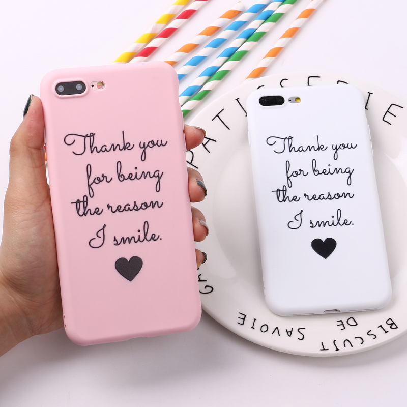 For 8 8Plus X 7 7Plus Couple Lover Heart Smile Soft TPU Silicone Matte Case Fundas Coque Cover For Iphone 6 6S 5S SE XS Max
