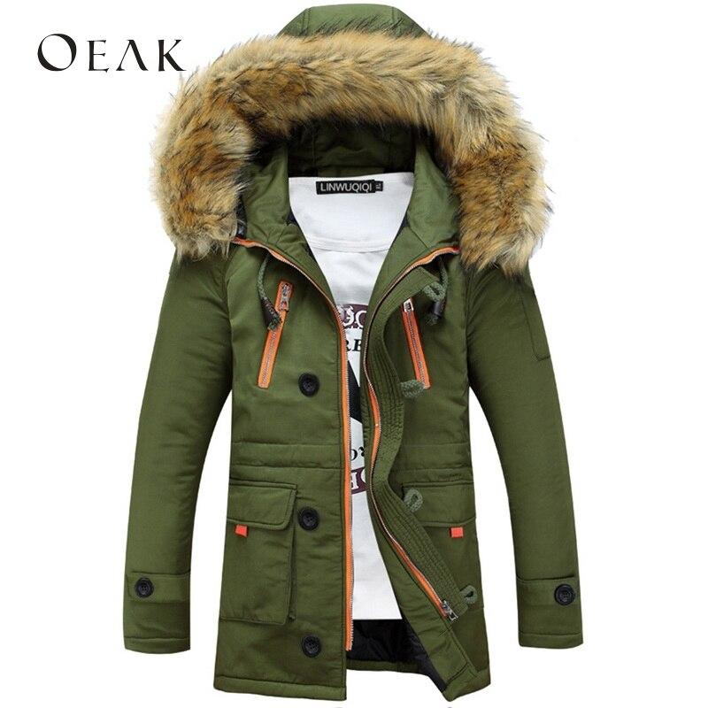 Oeak Men Hooded Jacket Winter Warm Men's Patchwork Cotton Outwear Male Thick Coats Casual Windbreak Jackets Zipper abrigo hombre