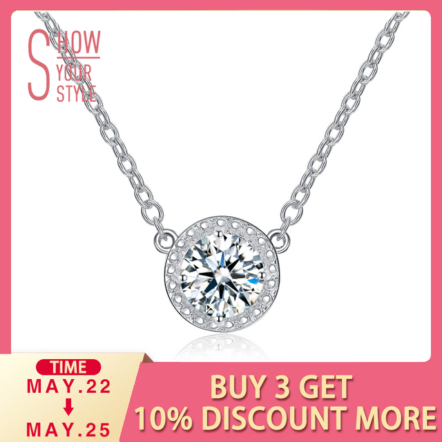 UMODE Trendy Top Round Cubic Zirconia Pendant Necklaces for Women White Gold Color Link Chain Colar Feminino Gift Jewelry UN0236