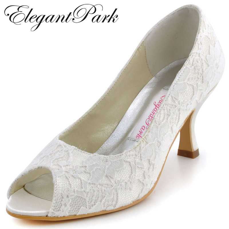 Fashion Ivory white Woman Shoes Mid Heels wedding bridal EP11013 Peep Toe Lace Lady Party Evening pumps shoes woman ep11013 35 white ivory peep toe high heel slip on lace bride women s wedding bridal pumps lady evening party shoes