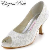 Fashion Ivory Frau Schuhe EP11013 Peep Toe Mid Heels Spitze Dame Party Hochzeit Braut frau Schuhe