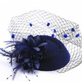 16 colors Fascinator with Feathers and Veiling  ladies day Wedding Bridal Party Wedding Brides Hair accessories bride headdress