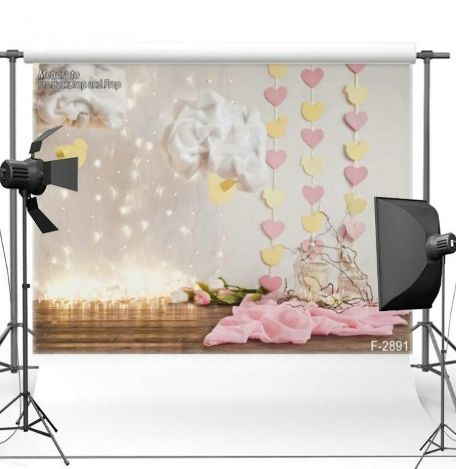 Paper Heart Cloud Flower Light Background Vinyl cloth High quality Computer Print children kids photo backdrop