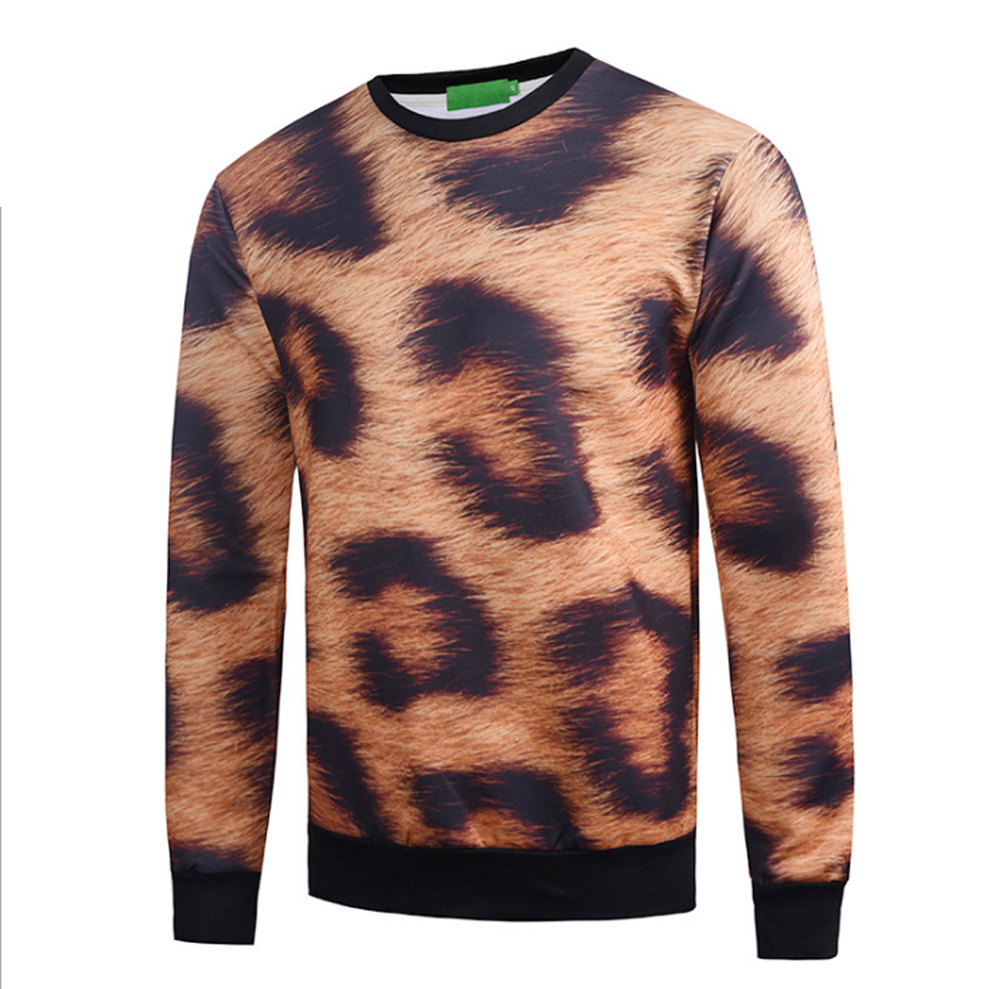 Brand Winter Warm Men Fashion Leopard Hoodies Sweats O-Neck Long Sleeve Sweatshirts Sportswear HOT Pullover Casual Print Clothes