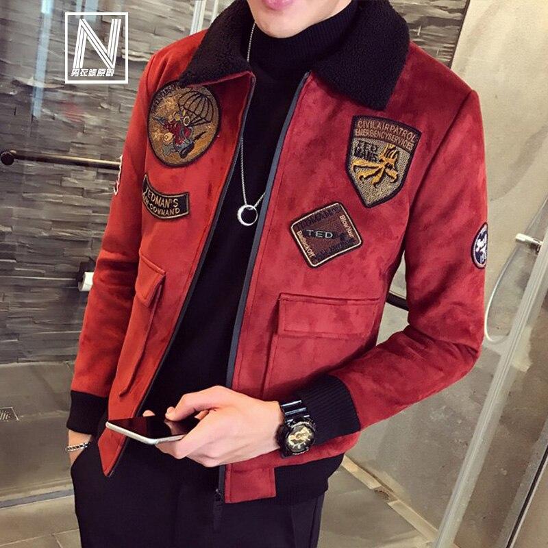 Deerskin Winter Pilot Bomber Jackets Mens Red Velvet Jackets Mens Fur Collar Khaki Mens Jackets And Coat Slim Fit Aeronaut Parka