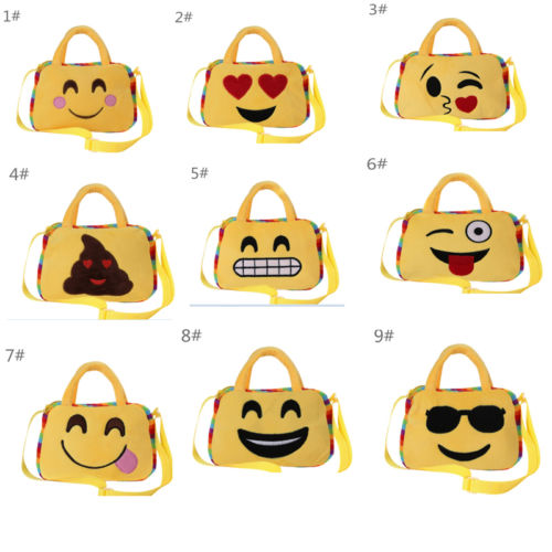 Faroot Fashion Emoji Face Expression Plush Bag Children Crossbody School Bags for Teenage Girls Handbag Storage Bags