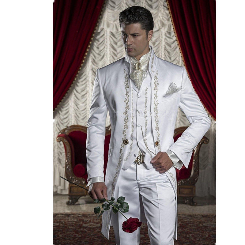 Male Shawl Lapel White Black Red Embroidered Prom Dress Suits Stage Singer Costume Homme Mens Suits With Pants vest