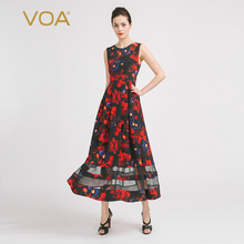 VOA2016 Europe and the new color sleeveless T-shirt silk dress simple slim print A6865