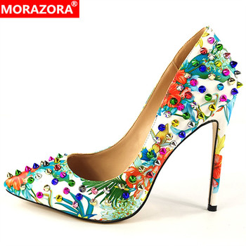 MORAZORA 2019 plus size 35-45 super high heels party wedding shoes woman pointed toe spring summer shoes rivet women pumps