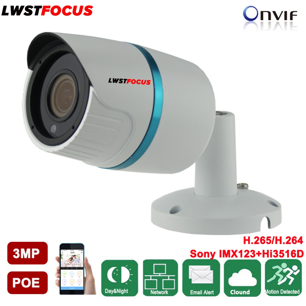 LWSTFOCUS Indoor/Outdoor Bullet Style PoE IP Camera 3 Megapixel Full HD 1080P IP66 Rated Housing Night Vision IR 20M 4MP lens tr cvi313 3 best selling new high quality 300 500 meter transmission 3 6mm megapixel lens 2 0mp full hd 1080p camera cvi