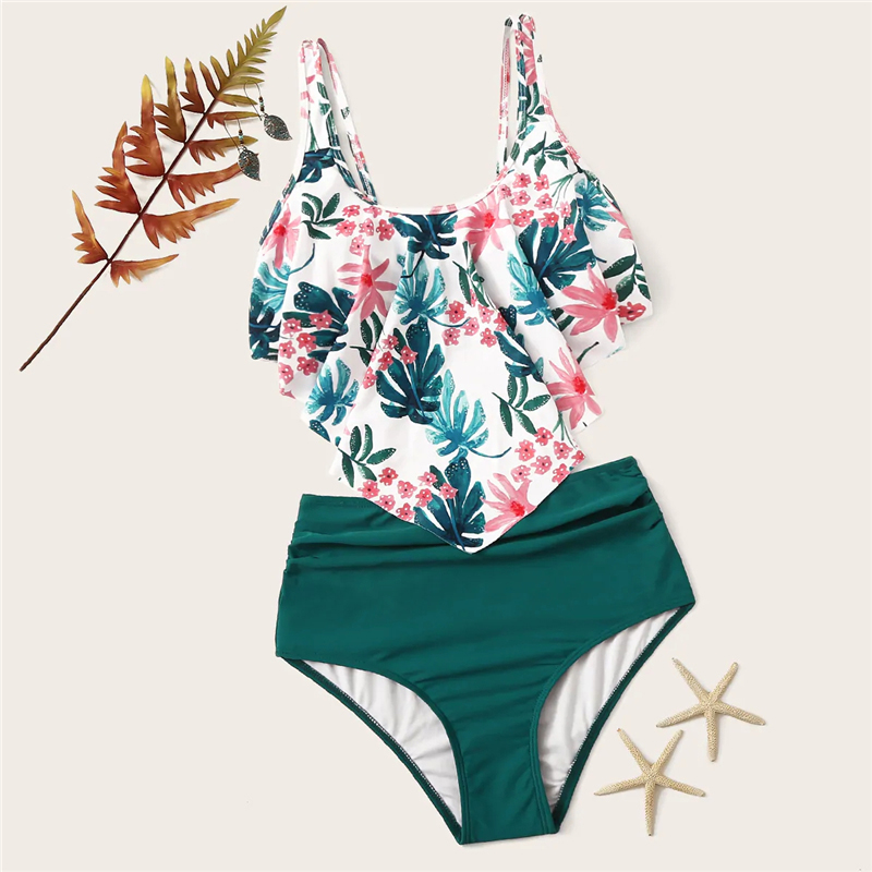Romwe Sport Bikinis Set Exaggerated Ruffle Ruched Tropical Floaty Top With Ruched Two-Pieces Suits Women Summer Beach Swimwear 5