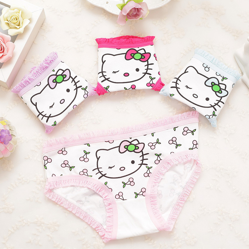 Hot Sales Girl Underwear 4pieces Lace Cotton Candy  Briefs Underwear Young Girl Panties Sales Direct