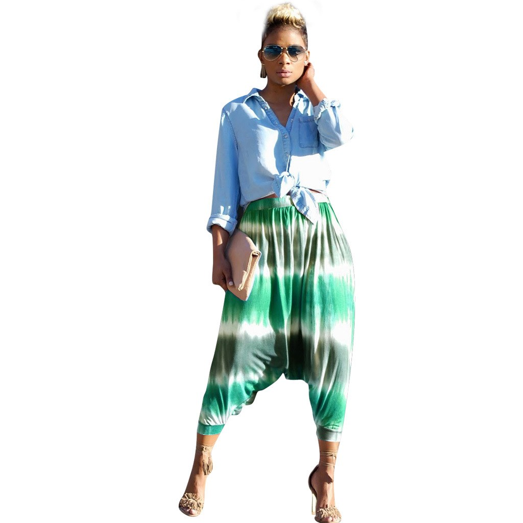 Summer Retro Loose Asymmetric Harem   Pants   Women Bohemian Large Size Colorful Trousers Streetwear High Waist Loose   Pants