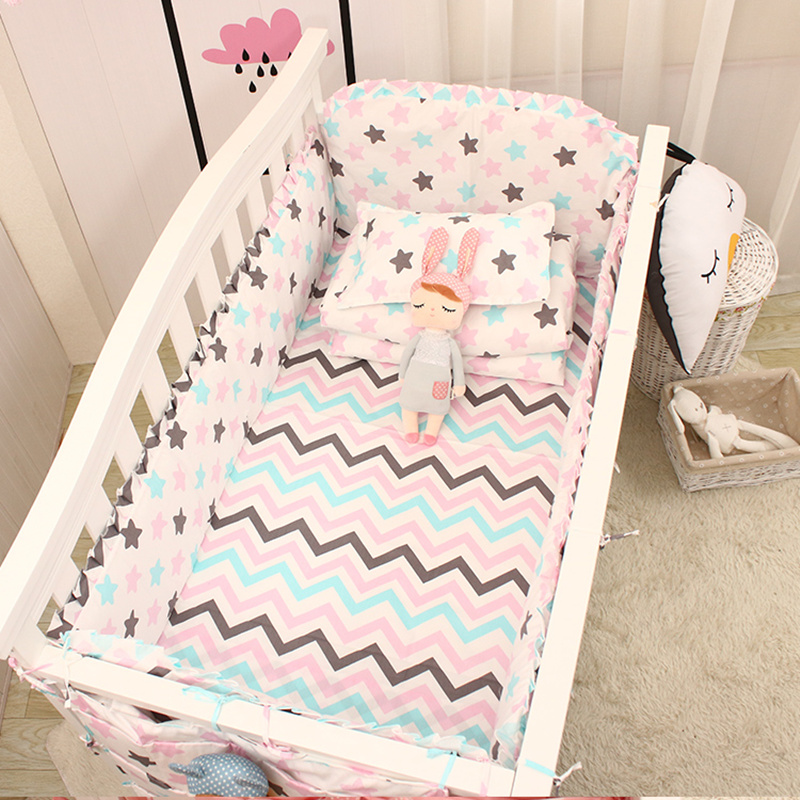 5pcs Pink/blue Stars Pattern Baby Crib Bedding Set Boys Girls Baby Bed Cotton Linens Kit Include Cot Protect Bumpers Bed Sheet