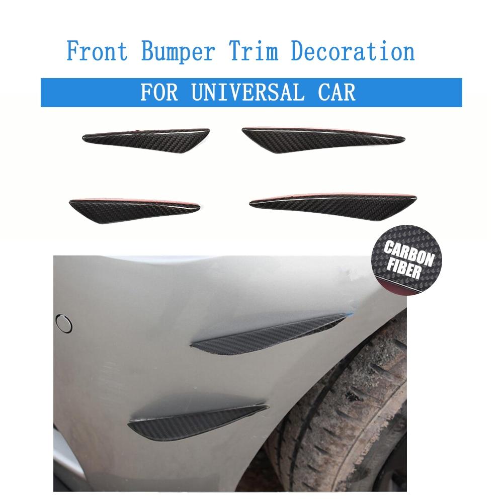 4 шт./компл. углеродного волокна лицевой стороны бампера Акула Фин Украшения для BMW Г30 Ауди Фольксваген Бенц нестандартная отделка багажника стикер автомобилей стайлинг