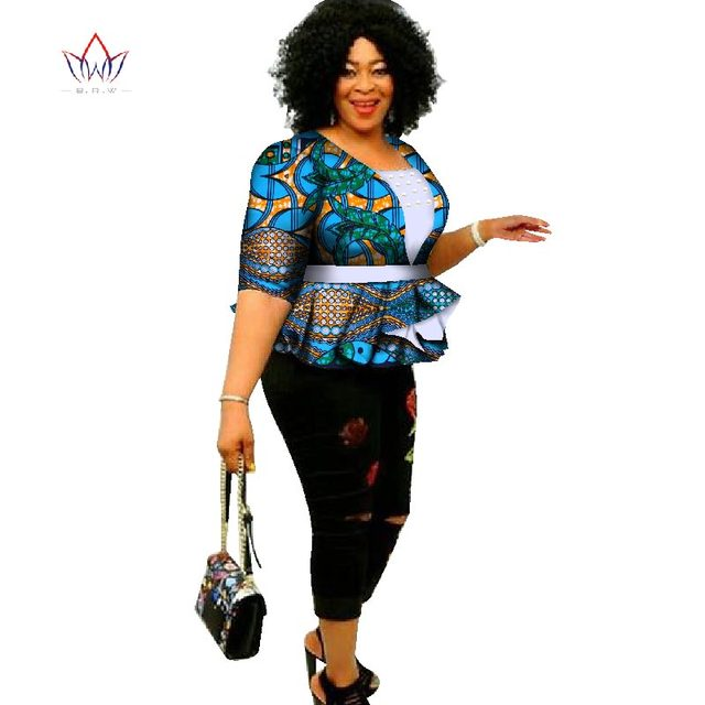 31e77f5dd64 2018 Dashiki African Print Tops Shirt for Women Africa Modern Style Bazin  Riche Tops Plus Size Traditional Women Clothing WY2824
