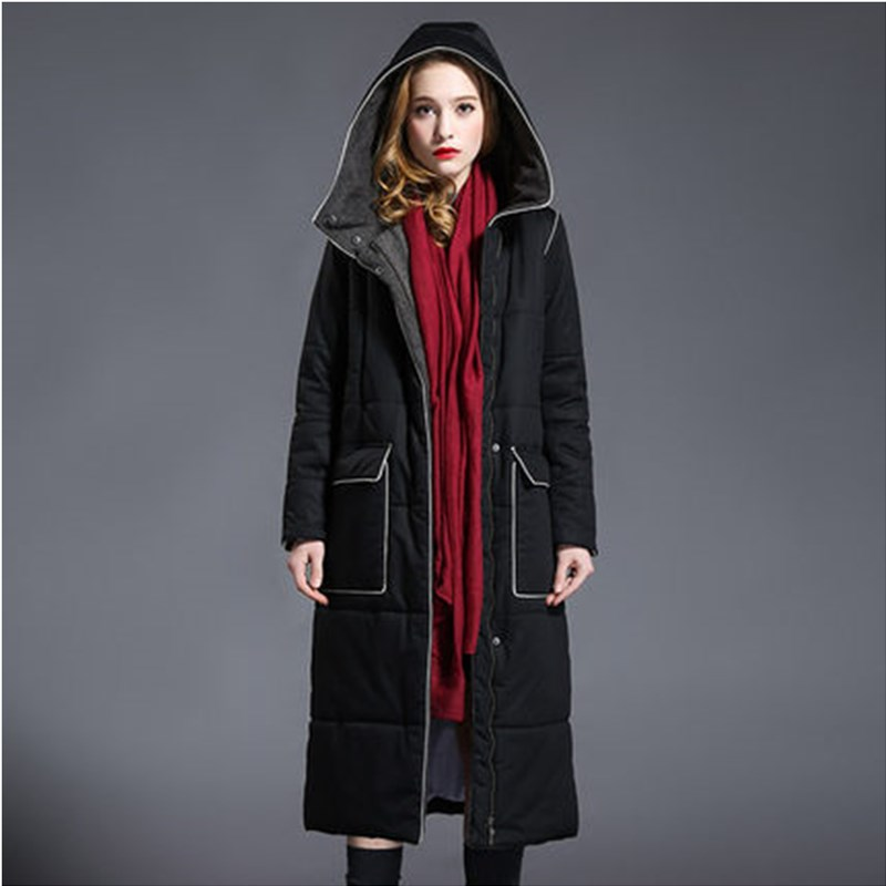 2016 New High-end Women Cotton Padded Over Knees Length Coat Winter Slim Long Thick Jacket Hooded Warm Big Pocket Parkas JA306