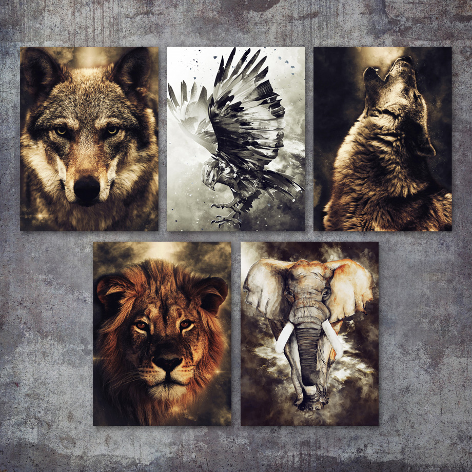 ><font><b>Watercolor</b></font> Wolf Lion Eagle Elephant Wall Art Canvas Painting Nordic Posters And Prints Wall Pictures For Living Room <font><b>Home</b></font> Decor