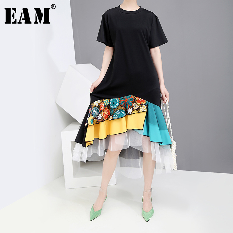 [EAM] 2020 New Spring Summer Round Neck Short Sleeve Black Hem Pattern Printed Mesh Temperament Loose Dress Women Fashion JW787