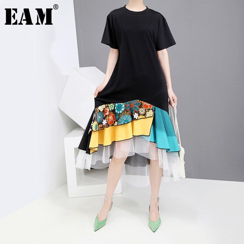 [EAM] 2020 New Spring Summer Round Neck Short Sleeve Black Hem Pattern Printed Mesh Temperament Loose Dress Women Fashion JW787