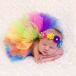 Радужные юбки-пачки для маленьких девочек, детские балетные пачки-пачки для танцев с цветами и повязкой на голову, детские юбки для дня рожд...