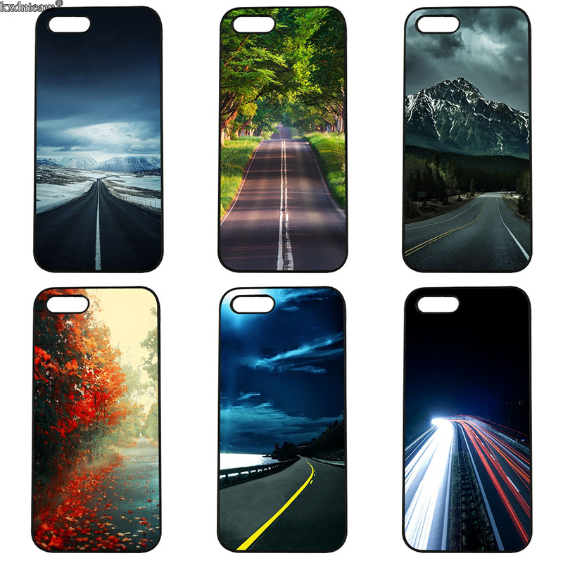 Cell Phone Cases Beautiful Roadside Scenery Hard Plastic Cover for iphone 8 7 6 6S Plus X 5S 5C 5 SE 4 4S iPod Touch 4 5 6 Shell